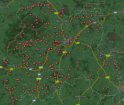 County Laois wetland map 2014 after addition of new wetland sites.