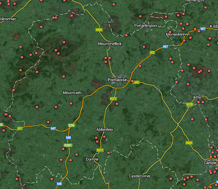 County Laois Wetland Map pre 2014 new site additions