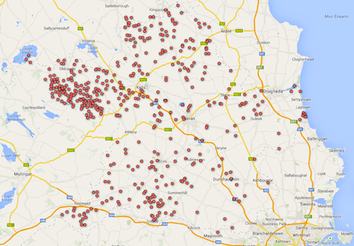 County Meath map of wetlands after inclusion of new wetland sites in 2014