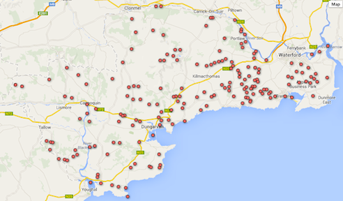 County Waterford map of wetlands after inclusion of new wetland sites in 2013